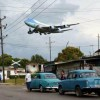 Obama's Air Force One gliding over Havana with his family and staff